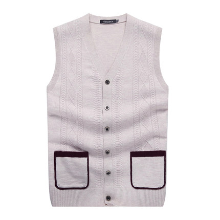Spring and winter men's wool vest in older men's solid color knit cardigan vest waistcoat waistcoat father installed